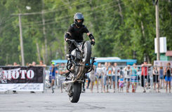 Stunt rider on a sport bike ,on a stunt battle Stock Photos