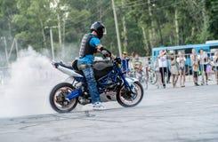 Stunt rider on a sport bike ,on a stunt battle Stock Photo