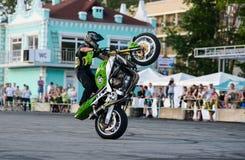 Stunt rider on a sport bike ,on a stunt battle Stock Image