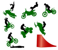 Stunt show on a motorcycle. Stock Photo