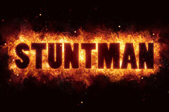 Stunt stuntman text on fire flames explosion burning. Explode Royalty Free Stock Photos