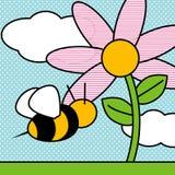 Stuntel bij en bloem vector illustratie