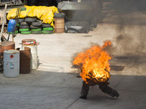 Stuntman. Burning stuntman danger job with fire Royalty Free Stock Photo