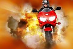 Stuntman collage. Stuntman riding motorbike on orange and yellow abstract background Stock Photography