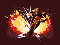 Stuntman on motorcycle. In helmet on background fire after explosion. Vector illustration Stock Photos