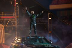 Stuntman Terru Grant. RUSSIA, MOSCOW - APRIL 1, 2017: International stunt driver and multiple world record holder  Terry Grant at the 10 festival of extreme Royalty Free Stock Photography