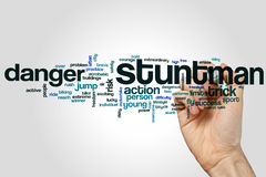 Stuntman word cloud. Concept on grey background Royalty Free Stock Image