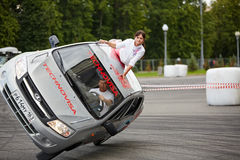 Stuntmen from team Avtorodeo Togliatti Trick performance Royalty Free Stock Photo