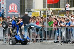 Stuntriding and delighted the audience Royalty Free Stock Image