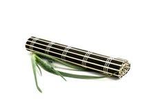 Stuoia del bambù nero ed aloe fresco vera Fotografia Stock Libera da Diritti