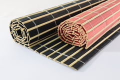 Stuoie di bambù rotolate Fotografia Stock
