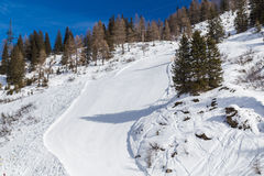 Stup på en Ski Resort arkivbild