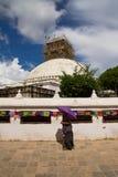 Stupa修理, Boudhanath寺庙,加德满都,尼泊尔 库存图片
