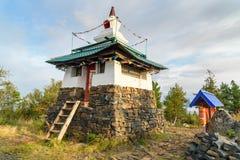 Stupa在山的Kachkanar美洲河鲱Tchup陵佛教徒修道院里 俄国 免版税库存照片