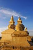stupa日落 免版税图库摄影
