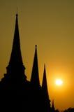 stupa菩萨和日落 免版税库存图片