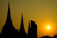 stupa菩萨和日落 库存照片