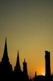 stupa菩萨和日落 免版税库存照片