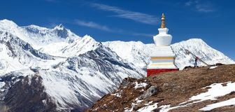 Stupa και σειρά Annapurna Στοκ Εικόνες