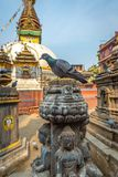 Stupa голубя и Kaathe Swayambhu ShreeGha Chaitya стоковое изображение