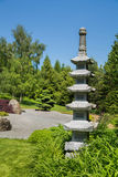 有寺庙或西藏人stupa的美妙的日本庭院 免版税库存照片