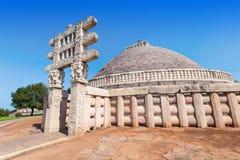桑吉Stupa,印度 免版税库存图片