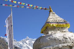 Stupa and 8000er Lothse royalty free stock photo