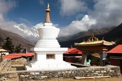 Stupa, Ama Dablam, Lhotse and Everest from Tengboche Stock Photo