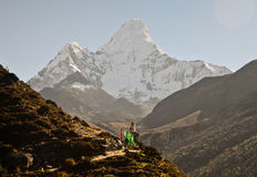 Stupa and Ama Dablam mountain Royalty Free Stock Photos