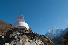 Stupa and Ama Dablam Stock Photo