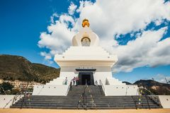 Stupa in Benalmadena, Spain. exterior view of a buddhist temple. Benalmadena, Spain, April 08, 2018: Stupa in Benalmadena, Spain. exterior view of a buddhist royalty free stock photography