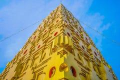 Stupa in Bodh Gaya in thaila van het Districtskanchanaburi van Sangkhla Buri stock foto