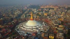 Stupa Bodhnath加德满都,尼泊尔- 2017年10月26日 股票录像