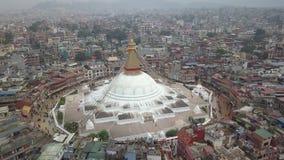 Stupa Bodhnath加德满都,尼泊尔4K录影平的外形Cinelike 股票视频