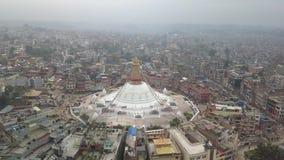 Stupa Bodhnath加德满都,尼泊尔4K录影平的外形Cinelike 影视素材