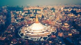 Stupa Bodhnath Kathmandu, Nepal - 26. Oktober 2017 Lizenzfreie Stockbilder