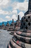 Stupa at Borobudur. On a cloudy day in Indonesia Royalty Free Stock Photos
