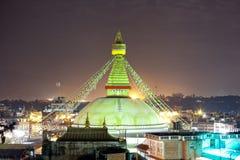 Stupa Boudhanath на ноче в Непале Катманду Стоковая Фотография
