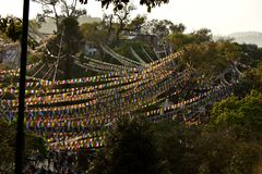 Stupa Boudhanath e bandiere colorate Fotografie Stock