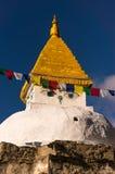 Stupa branco na vila de Dingboche, região da Buda de Everest, Nepal Fotografia de Stock Royalty Free