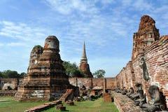 Stupa and bricks wall at wat Mahathat in Ayuttha Stock Photo