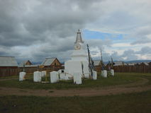 Stupa. Buddhist stupa in a siberian village stock photography