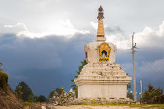Stupa building sacred religious buddhist tibetan historic ruins, Nepal. Royalty Free Stock Photography