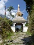 Stupa in Chame village, Nepal. Chame village in Nepal, Annapurna Circuit trek royalty free stock photo