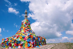Stupa. The colorized prayer flags are hung on stupa Royalty Free Stock Photography