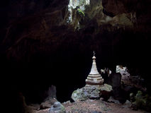 Stupa in Dark Cave Royalty Free Stock Images