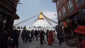 Stupa de Boudhanath en Katmandu, Nepal almacen de metraje de vídeo