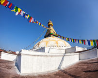 Stupa di Bodhnath con le bandiere di preghiera Fotografie Stock Libere da Diritti