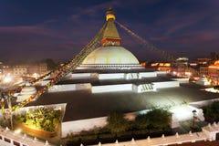 Stupa di Bodhnath o di Boudha a Kathmandu, Nepal fotografia stock libera da diritti