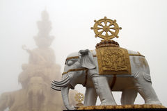 Stupa and elephant Royalty Free Stock Photography